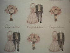 Cavania Wedding Dress Bouquet Wrapping Paper Gift Wrap  Pink Vintage