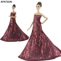 Wine Sequin Party Dress For Barbie Doll Clothes Princess Gown Dolls Accessories