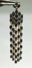 14k Solid Yellow Gold Cluster Long Dangle Pendant, Natural Sapphire 7.57 Grams