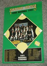 Vintage 1991 Iowa Hawkeyes Baseball Young Guns Sports Column Bar Schedule Poster