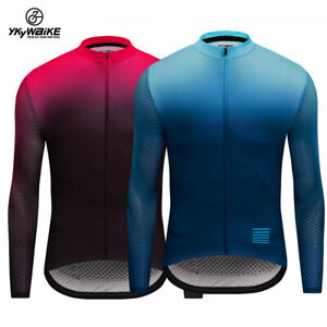 Men Cycling Long Sleeves Fit Comfortable Sun-protective Gradient Color Jerseys