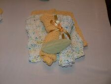Set of 4 Handmade Knitted 100% Cotton Dish Cloths/ Wash Clothes Yellow/Mixed