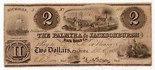Palmyra Jacksonburgh Railroad Co. April 5 1838 $2 Two Dollar Obsolete Michigan