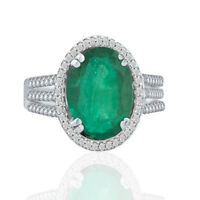 Emerald & Diamond Oval cut  Natural Halo  3.47 ctw 14k White Gold Ring