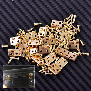 20x Golden Miniature Hinges For Dollhouse 1/12 Scale Cabinet Furniture Closet ht
