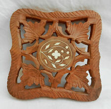 Hand Carved & Inlaid Wooden Trivet / Pot or Plate Stand - BNWT