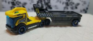 2012 Mattel Hotwheels Copter Chase Tractor Trailer Toy,  Yellow & Blue