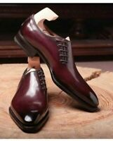 Mens Handmade Shoes Maroon Leather Oxford Pointed Toe Lace Up Formal Dress Boots