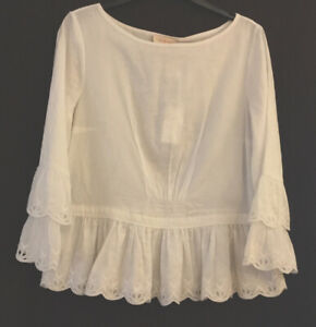Tory Burch White Cotton Top With 3/4 Sleeves Size US 8/UK 12