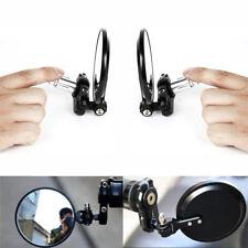 2x Motorcycle Mirrors Handle Bar Circular Foldable Blindsight Side Convex Mirror
