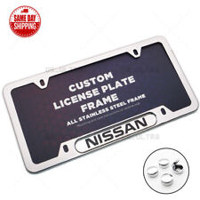 For Nissan Sport Front / Rear License Frame Plate Cover Stainless Steel Chrome