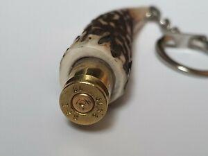 Scottish Stag's Antler Keyring With Bullet Casing (1)