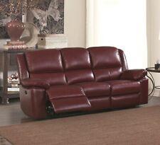 Burgundy Genuine Leather 3 Seater Recliner Sofa Suite TOLEDO