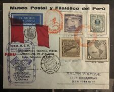 1937 Lima Peru First Flight cover FFC to New York USA Aviation Conference Souven