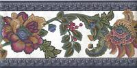 Wallpaper Border Bright Jewel Tone Classic Jacobean Floral Blue Green Burgundy