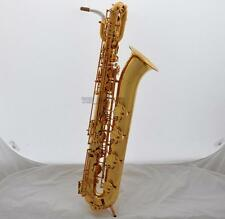 Support Pro Baritone Saxophone Gold TaiShan Bari Sax Eb Low A Key 2Neck New Case