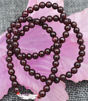 """NEW 4MM Natural India Garnet Smooth Gemstone necklace 18""""Silver clasps AAA"""