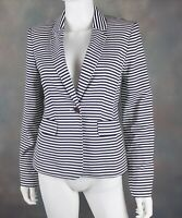 Calvin Klein Women's Blazer Size 4 Black White Striped One Button Shoulder Pads