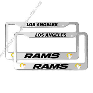 2PCS Los Angeles Rams Chrome License Plate Frame Auto Truck Car Metal Tag Cover