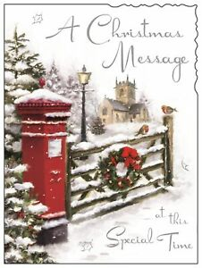 "Jonny Javelin Open Christmas Card - Postbox Church & Gate With Foil 7.25"" x 5.5"""