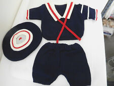 New (3) Piece Navy Blue Knit Sailor Outfit Suit for Big Baby Doll