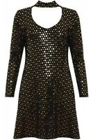 Plus Size Womens Polka Sequin Long Sleeve Choker Neck Flared Swing Dress 14-28