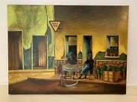 Latin Fishing Village | Original Oil Painting |  Man Woman Repair Nets | 20 x 16