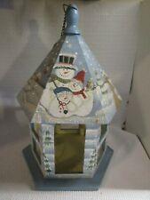 Hand Painted Snowman Wooden Bird Feeder Hanger Christmas Winter Indoor / Outdoor