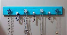 "Handmade Necklace Hanger Wood Blue ""Weathered"" Decor Stars/Crackle Glass Knobs"