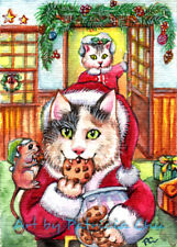"""ACEO LE Art Card Print 2.5""""x3.5"""" """" Totally Busted """" Holiday Cat Art by Patricia"""