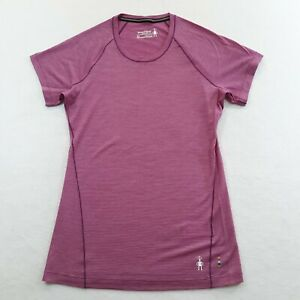 Smartwool Womens Size XS Purple Pinstriped Athletic Casual T-Shirt Base Layer