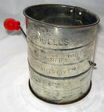 Vintage Bromwells Flour Sifter with Red Wood Handle! Great Wear