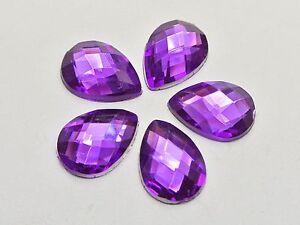 200 Dark Purple Acrylic Flatback TearDrop Rhinestone Gems 10X14mm No Hole