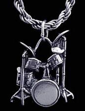 Drum set drummer pendant charm sticks Sterling Silver
