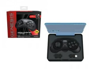 Retro-Bit Official SEGA Genesis Wireless 8-Button Gamepad Controller - BLACK
