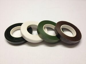 Florist Stem Tape - Wire Floral Work Corsages Button Holes - White Green Brown