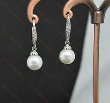 Beautiful 18k/18ct White Gold Filled 8mm Pearl & White Sapphire Drop Earrings