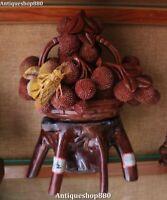 Statue de corbeille de fruits en litchi sculptée sur pierre naturelle