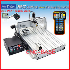 USB four 4 axis 8060 2200W cnc router engraver engraving milling machine mach3