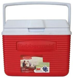 Rubbermaid 10 Qt Red Ice Chest Cooler Personal Portable Outdoor Camping Fishing