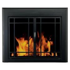 NIB: Nice Small Black Finish FIREPLACE DOORS w/ Steel Mesh Screen ( Easton )