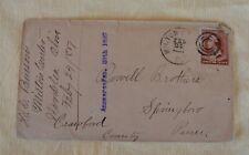 Antique Feb 1887 Envelope Brown 2c Geo Washington US Postage Stamp Iron Cross
