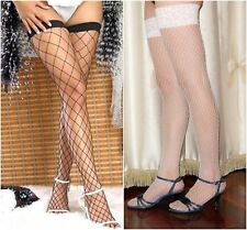 Ladies Fish Fence Net Thigh High Garter Stockings Tights Lingerie Black Red Wide