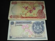 Singapore Orchid $10 and $1 note