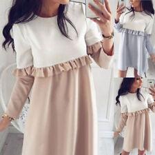 UK Womens Autumn Spring Long Sleeve Ruffle Casual Mini Shirt Dress Ladies Tops