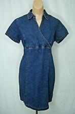 Motherhood Maternity Short Sleeve Denim Knee Length Dress w/ Tie in Back Size M