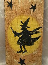 Halloween Folk Art Wood Sign Wall Hanging Witch Riding Broom Moon Rustic Fence