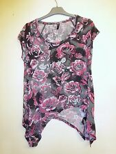 Gorgeous Grey & Pink Floral Asymmetric Top from M&S - Size 12 - Worn Once!