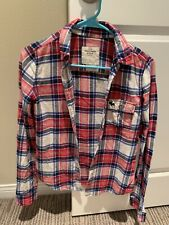Abercrombie & Fitch Womens Red White Plaid Long Sleeve Flannel Button Shirt XS