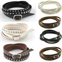 Vintage Men Women Punk Multilayer Leather Rivet Stud Wrap Cuff Bangle Bracelet